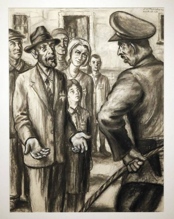 """""""In Lodz Ghetto"""" from the series """"Because They Were Jews!"""" is on display in """"Testimony: The Life and Work of David Friedman,"""" an exhibit of work by the late Jewish artist, who was a Holocaust survivor, at the University of Oklahoma"""