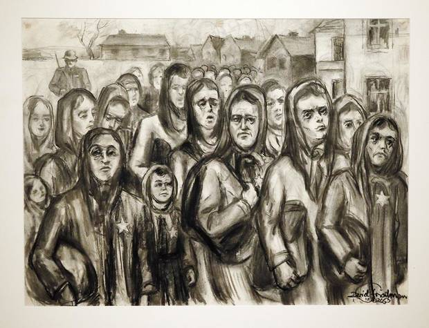 """""""Women with Their Children on Their Way to an Unknown Concentration Camp"""" from the series """"Because They Were Jews!"""" is on display in """"Testimony: The Life and Work of David Friedman,"""" an exhibit of work by the late Jewish artist, who was a Holocaust survivor, at the University of Oklahoma"""