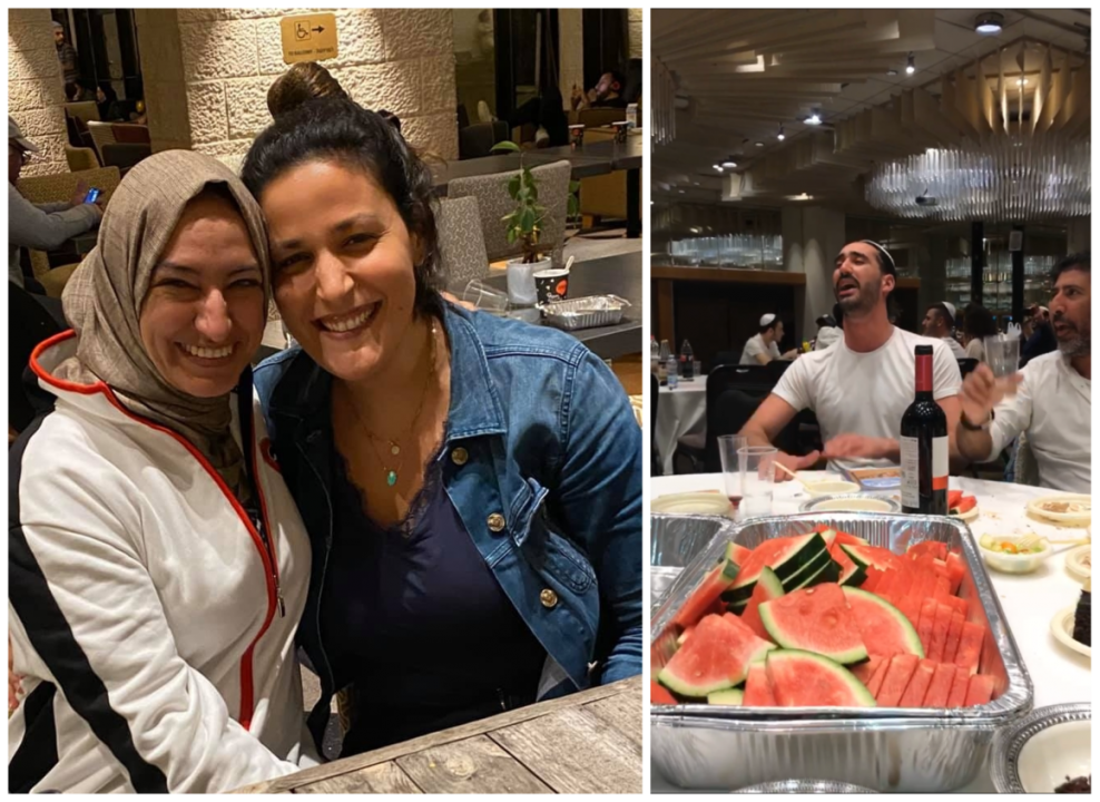 Shuster-Eliassi poses with her friend Rafa (left); people of all backgrounds celebrated Passover with watermelon and wine (right).